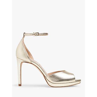L.K.Bennett Joyce Leather Peep Toe Sandals, Soft Gold