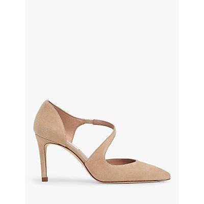L.K.Bennett Victoria Suede Asymmetric Cut Court Shoes, Trench