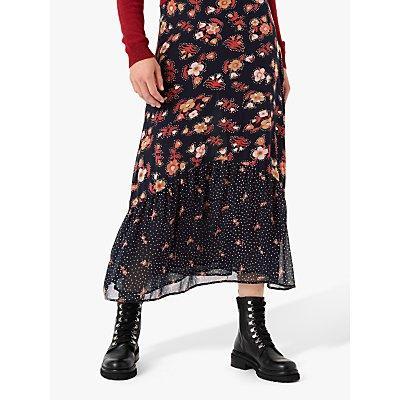 Brora Silk Floral Maxi Skirt, Midnight