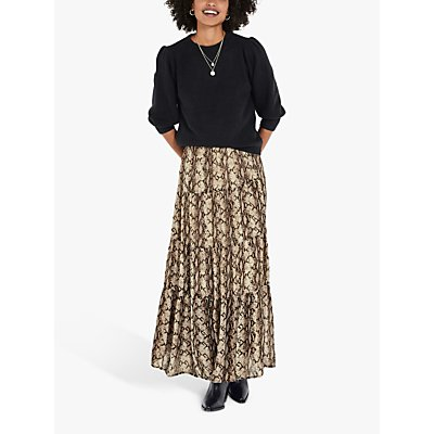 hush Lyra Snake Print Tiered Maxi Skirt, Multi