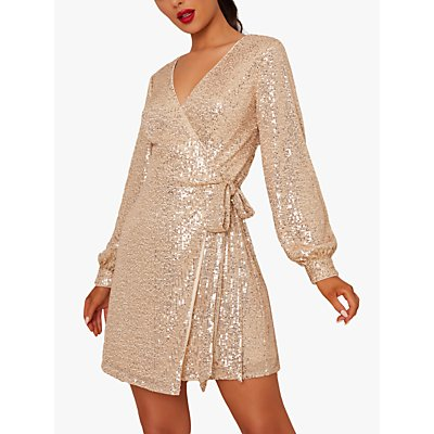 Chi Chi London Dayna Sequin Wrap Dress, Gold