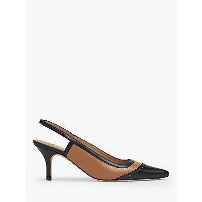 L.K.Bennett Holly Leather Slingback Heels, Beige/Black
