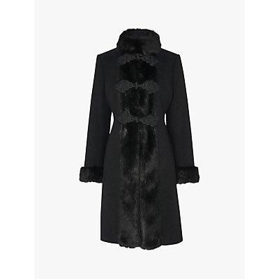 L.K.Bennett Perris Faux Fur Trim Tailored Coat, Black