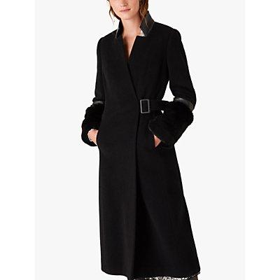 Monsoon Faux Fur Cuff Maxi Coat, Black