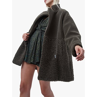 French Connection Irenea Faux Fur Coat, Loden Green