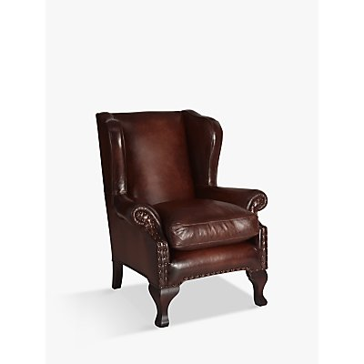 John Lewis Compton Leather Wing Armchair, Antiqued