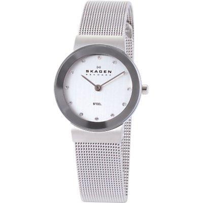 Skagen 358SSSD Women s Stainless Steel Mesh Bracelet Strap Watch  Silver - 4013496380842