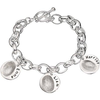 Under the Rose Personalised Women s Fingerprint Charm Bracelet  3 Charms - 27582473