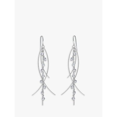 Nina Breddal Sterling Silver and Clear Crystal Drop Earrings  Silver Clear - 23724747