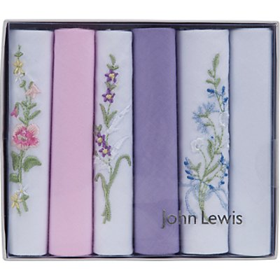 John Lewis & Partners Cotton Plain and Embroidery Handkerchiefs, Pack of 6, Multi
