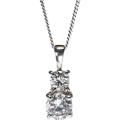 Nina Breddal Sterling Silver Double Cubic Zirconia Drop Pendant - 28396987