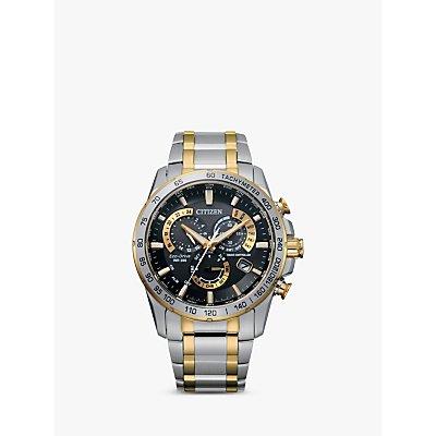 Citizen AT4004 52E Men s Radio Controlled Eco Drive Chronograph Two Tone Bracelet Strap Watch  Silver Gold - 4974374215260