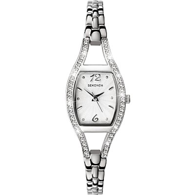 Sekonda 4191 27 Women s Diamante Bezel Stainless Steel Bracelet Strap Watch  Silver - 5051322041917