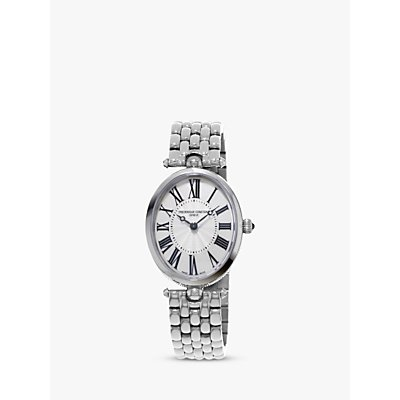 Frederique Constant FC-200MPW2V6B Women's Classic Art Deco Oval Bracelet Strap Watch, Silver