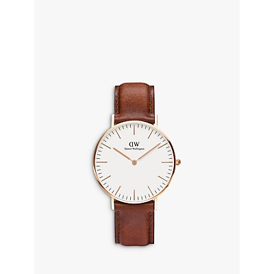 Daniel Wellington 0510DW Women s Sheffield Leather Strap Watch  Brown White - 7350068240393