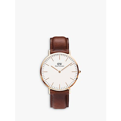 Daniel Wellington 0106DW Men s St Andrews Rose Gold Plated Leather Strap Watch  Tan White - 7350068240065
