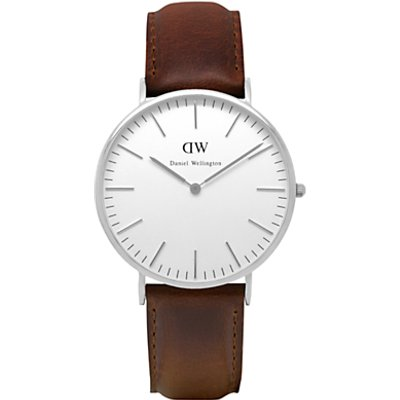 Daniel Wellington 0209DW Men s Classic Bristol Stainless Steel Leather Strap Watch  Tan White - 7350068240713