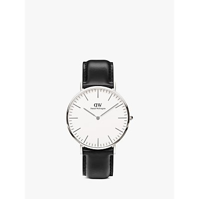 Daniel Wellington 0206DW Men s Classic Sheffield Stainless Steel Leather Strap Watch  Black White - 7350068240140