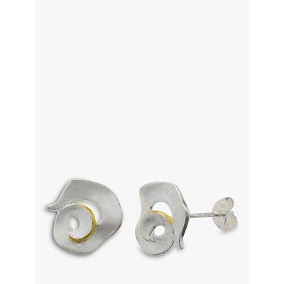 Nina Breddal Sterling Silver Gold Edged Swirl Stud Earrings - 29164837