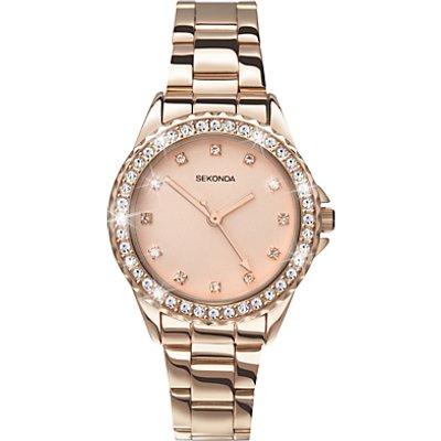 Sekonda 4253 27 Women s Temptation Crystal Bezel Bracelet Strap Watch  Rose Gold - 5051322042532