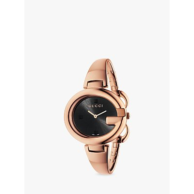Gucci YA134305 Women s Guccissima Bangle Strap Watch  Rose Gold Black - 731903353916