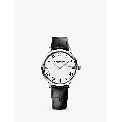 Raymond Weil 5488 STC 00300 Men s Toccata Leather Strap Watch  Black White - 7611784045250