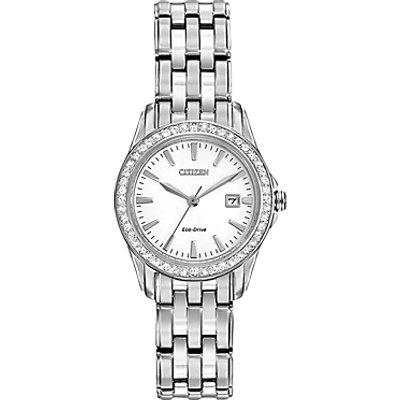 Citizen EW1901 58A Women s Silhouette Crystal Swarovski Crystal Eco Drive Bracelet Strap Watch  Silver White - 4974374241863