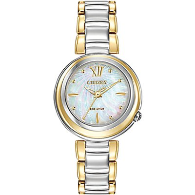 Citizen EM0337 56D Women s Sunrise Mother of Pearl Two Tone Eco Drive Stainless Steel Bracelet Strap Watch  Gold Silver - 4974374240460