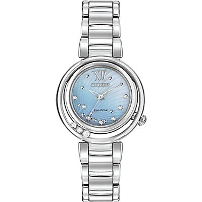 Citizen EM0320 59D Women s Sunrise Diamond and Mother of Pearl Eco Drive Stainless Steel Bracelet Strap Watch  Silver Blue - 4974374242112