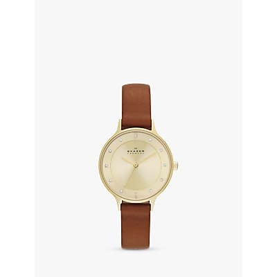 Skagen SKW2147 Women s Anita Leather Strap Watch  Tan Gold - 4053858217836