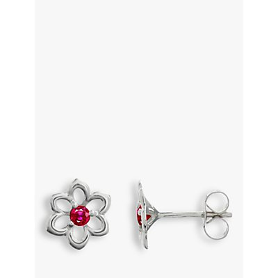 Nina Breddal 9ct White Gold Ruby Flower Stud Earrings  White Red - 20869977