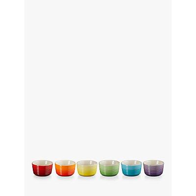 Le Creuset Stoneware Rainbow Mini Ramekins, Set of 6, Assorted