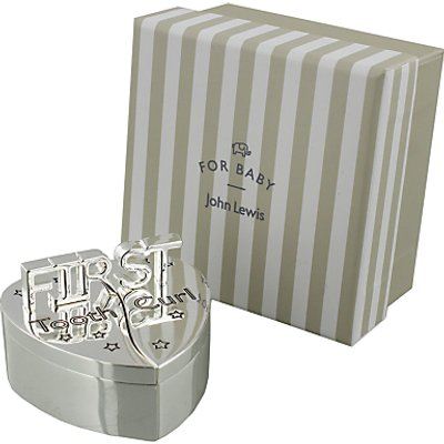 John Lewis & Partners 1st Tooth and Curl Heart Silver Plated Box
