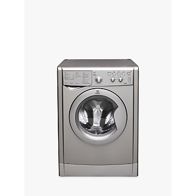 Indesit IWDC6125S Ecotime Freestanding Washer Dryer, 6kg Wash/5kg Dry Load, B Energy Rating, 1200rpm Spin, Silver