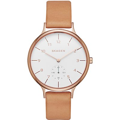 Skagen SKW2405 Women s Anita Leather Strap Watch  Tan White - 4053858592179