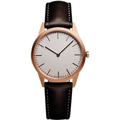 Uniform Wares C35SRG01NAPBRO1816R01 Men s C35 Leather Strap Watch  Dark Brown Grey - 0634158599743