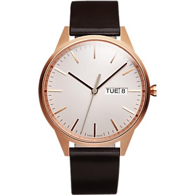 Uniform Wares C40SRG01CORBRO1816R01 Men s C40 Day Date Leather Strap Watch  Brown Grey - 0634158599903