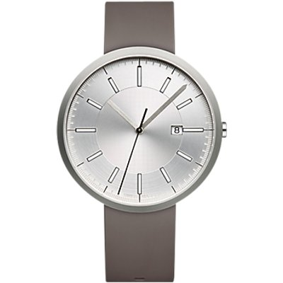 Uniform Wares M40BSI01NITGRY1818R01 Men s M40 Date Rubber Strap Watch  Grey Silver - 634158599569