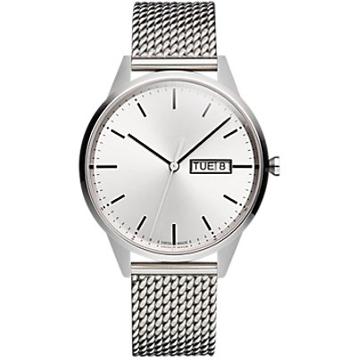 Uniform Wares C40BSI01MILBSI1818R01 Men s C40 Day Date Bracelet Strap Watch  Silver - 0634158599842