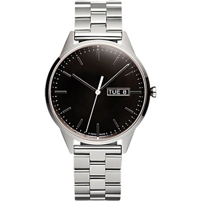 Uniform Wares C40PSI01BRAPSI1818R01 Men s C40 Day Date Bracelet Strap Watch  Silver Black - 634158599873