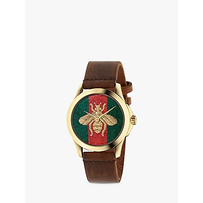 Gucci YA126451 Women s G Timeless Bee Leather Strap Watch  Brown Multi - 0731903365087