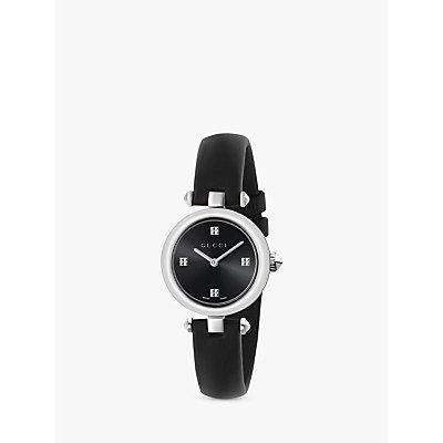 Gucci YA141506 Women s Diamantissima Leather Strap Watch  Black - 0731903382640