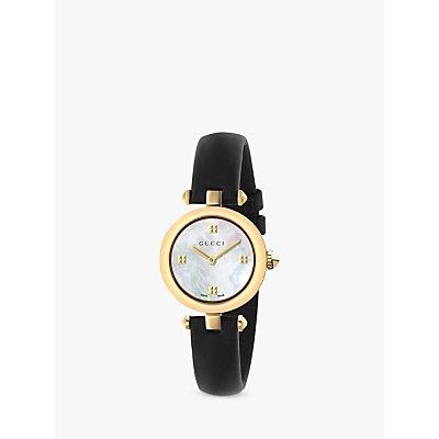 Gucci YA141505 Women s Diamantissima Leather Strap Watch  Black White - 0731903382633