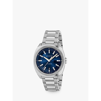 Gucci YA142205 Men s GG2570 Date Bracelet Strap Watch  Silver Navy - 0731903385146
