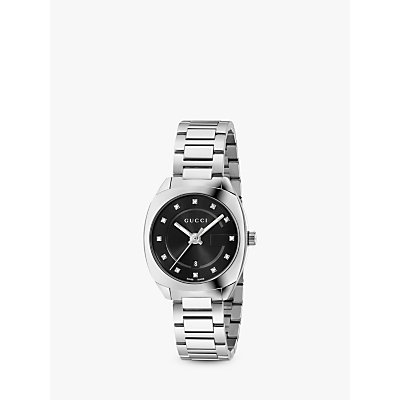 Gucci YA142503 Women s GG2570 Diamond Date Bracelet Strap Watch  Silver Black - 0731903382497