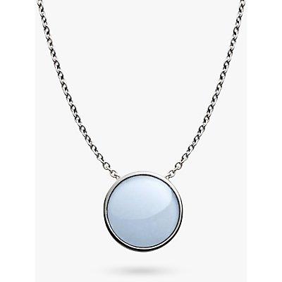 Skagen Sea Glass Round Pendant Necklace  Silver Pale Blue SKJ0790040 - 4053858595118