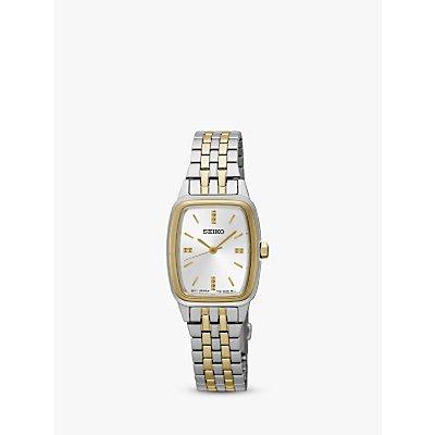 Seiko SRZ472P1 Women s Rectangular Dial Bracelet Strap Watch  Silver Gold - 4954628205421