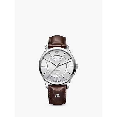 Maurice Lacroix PT6358 SS001 130 1 Men s Pontos Automatic Day Date Leather Strap Watch  Brown Silver - 7630020606932