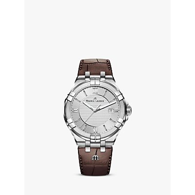 Maurice Lacroix AI1008 SS001 130 1 Men s Aikon Date Leather Strap Watch  Brown Silver - 7630020607670