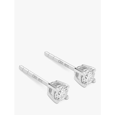Diamond Collection 18ct White Gold Round Brilliant Solitaire Diamond Stud Earrings  0 33ct - 5055258099653